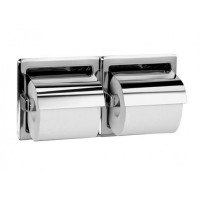 Stainless Steel Recessed Double Roll Toilet Paper Dispenser With Hood