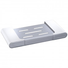 Round Rectangle Soap Dish White and Chrome