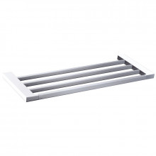 600mm Rectangle Towel Rack Chrome and White