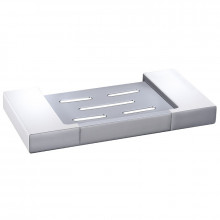 Rectangle Soap Dish White and Chrome