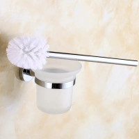 Toilet Brush Holder with Round Bracket Wall Mounted Chrome