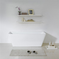 1575x750x580mm Avis Bathtub Back to Wall Freestanding Acrylic Gloss White Bath tub NO Overflow