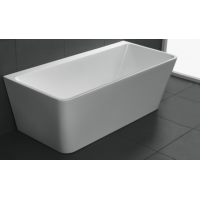1700x750x580mm Avis Bathtub Back to Wall Freestanding Acrylic Gloss White Bath tub NO Overflow
