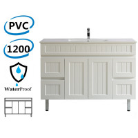 1200mm Hampton Freestanding Vanity PVC Board Matt White Linear Surface