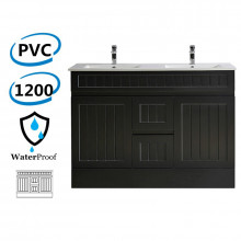 1200mm Hampton PVC Vanity  Double Bowls Matt Black Freestanding Kickboard Drawers Linear Surface for Bathroom