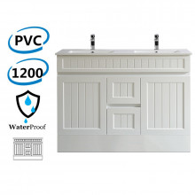 1200mm Hampton PVC Vanity  Double Bowls Matt White Freestanding Kickboard Drawers Linear Surface for Bathroom