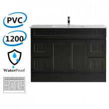 1200mm Hampton PVC Vanity Kickboard Single Bowl Drawers Linear Surface Matt Black for Bathroom