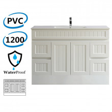 1200mm Hampton PVC Vanity Kickboard Single Bowl Drawers Linear Surface Matt White for Bathroom