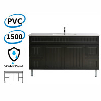 1500mm Hampton Freestanding Vanity PVC Board Single Bowl/ Double Bowls Matt Black Linear Surface