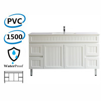 1500mm Hampton Freestanding Vanity PVC Board Single Bowl/ Double Bowls Matt White Linear Surface