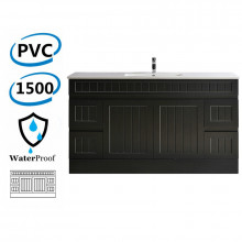 1500mm Hampton PVC Vanity Single/ Double Bowls Matt Black Kickboard Drawers Linear Surface for Bathroom