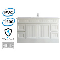 1500mm Hampton PVC Vanity Single/ Double Bowls Matt White Kickboard Drawers Linear Surface for Bathroom