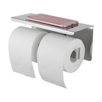 Ottimo Chrome Double Toilet Paper Holder Stainless Steel Wall Mounted