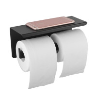 Ottimo Black Double Toilet Paper Holder Stainless Steel Wall Mounted