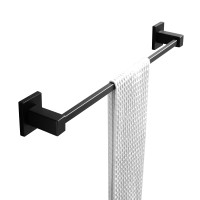 Ottimo Black Single Towel Rail 600mm Stainless Steel Wall Mounted