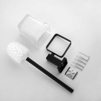 Ottimo Black Toilet Brush with Holder Stainless Steel