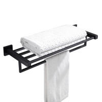 Ottimo Nero Black Towel Rack Shelf 600mm Stainless Steel