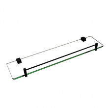 Ottimo Black Glass Shelf Holder 500mm Stainless Steel