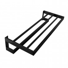 Omar Nero Black Double Towel Holder 600mm Stainless Steel