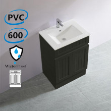 600mm Hampton PVC Vanity Matt Black Freestanding Kickboard Linear Surface for Bathroom