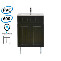 600mm Hampton Freestanding Vanity PVC Board Matt Black Linear Surface