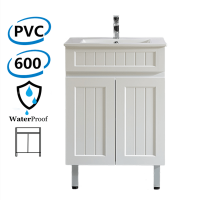 600mm Hampton Freestanding Vanity PVC Board Matt White Linear Surface