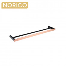 Norico Esperia Black & Rose Gold Double Towel Rail 800mm Stainless Steel 304 Wall Mounted