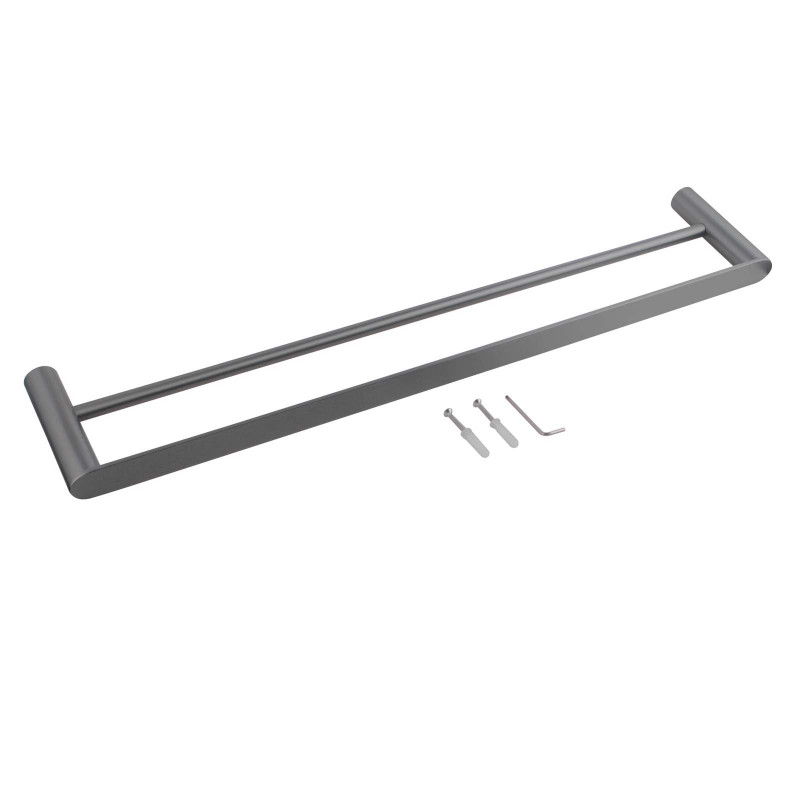 Gunmetal Grey Double Towel Rail 600mm Stainless Steel 304 Wall Mounted AC6502GMG