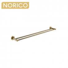 Norico Round Brushed Yellow Gold Double Towel Rack Rail 790mm