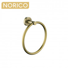 Norico Round Brushed Yellow Gold Hand Towel Ring Wall Mounted