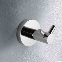 Euro Pin Lever Round Chrome Stainless Steel Double Robe Hook Wall Mounted