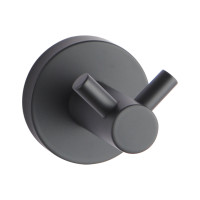 Euro Pin Lever Round Black Stainless Steel Double Robe Hook Wall Mounted