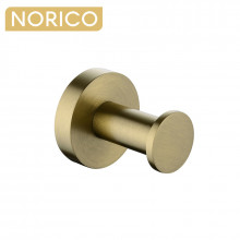 Norico Round Brushed Yellow Gold Stainless Steel Robe Hook Wall Mounted