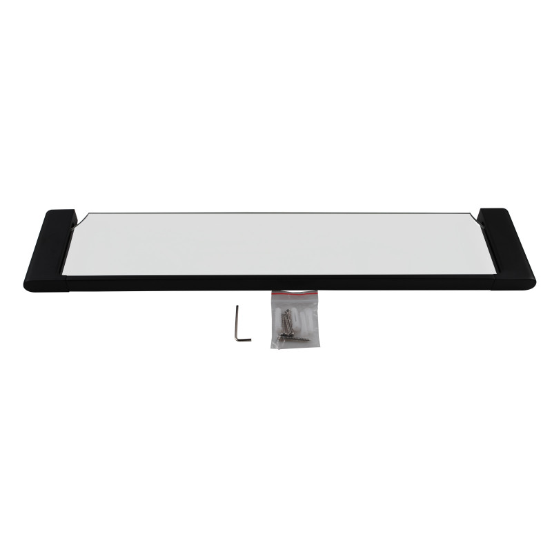 Quavo Matt Black Single Glass Shelf Storage Brass Wall Mounted