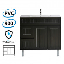 900mm Hampton Freestanding Vanity PVC Board Left Side Drawers Matt Black Linear Surface