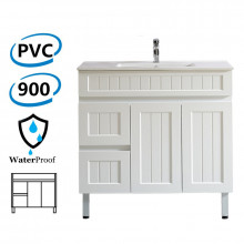 900mm Hampton Freestanding Vanity PVC Board Left Side Drawers Matt White Linear Surface