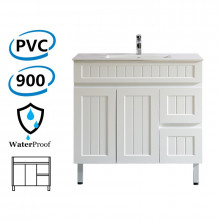 900mm Hampton Freestanding Vanity PVC Board Right Side Drawers Matt White Linear Surface