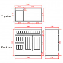 900mm Hampton PVC Vanity Left Drawers Matt Black Freestanding Kickboard Linear Surface for Bathroom