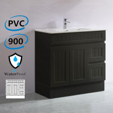 900mm Hampton PVC Vanity Right Drawers Matt Black Freestanding Kickboard Linear Surface for Bathroom