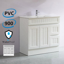 900mm Hampton PVC Vanity Right Drawers Matt White Freestanding Kickboard Linear Surface for Bathroom