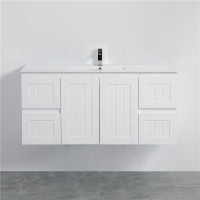 1200mm Wall Hung PVC Vanity with Matt White Finish Hampton Style Single Bowl Cabinet ONLY for Bathroom