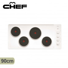 Chef 90cm 4 Solid Element Electric White Enamel Cooktop