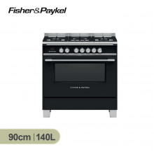 Fisher & Paykel 90cm Black Dual Fuel Freestanding Cooker with Full Extension Sliding Shelves