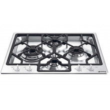 Smeg 60cm 4 Burner Stainless Steel Gas Cooktop