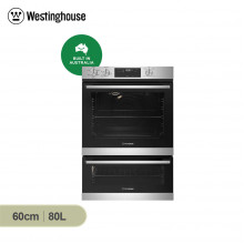 Westinghouse 60cm 80L Stainless Steel Multifunction Wall Oven with Separate Grill