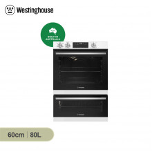 Westinghouse 60cm 80L White Multifunction Wall Oven with Separate Grill