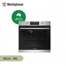 Westinghouse 60cm 80L Stainless Steel Built in Multifunction Pyrolytic Oven