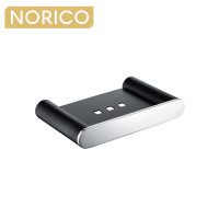 Norico Esperia Chrome & Matt Black Soap Dish Holder Tray Holder Stainless Steel Wall Mounted