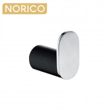Norico Esperia Chrome & Matt Black Robe Hook Wall Mounted Stainless Steel