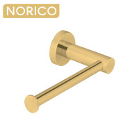 Norico Round Brushed Yellow Gold Toilet Paper Roll Holder Stainless Steel Wall Mounted